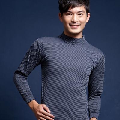 衛生衣 時尚條紋高領保暖衣(黑)藍伯特男士精品內褲