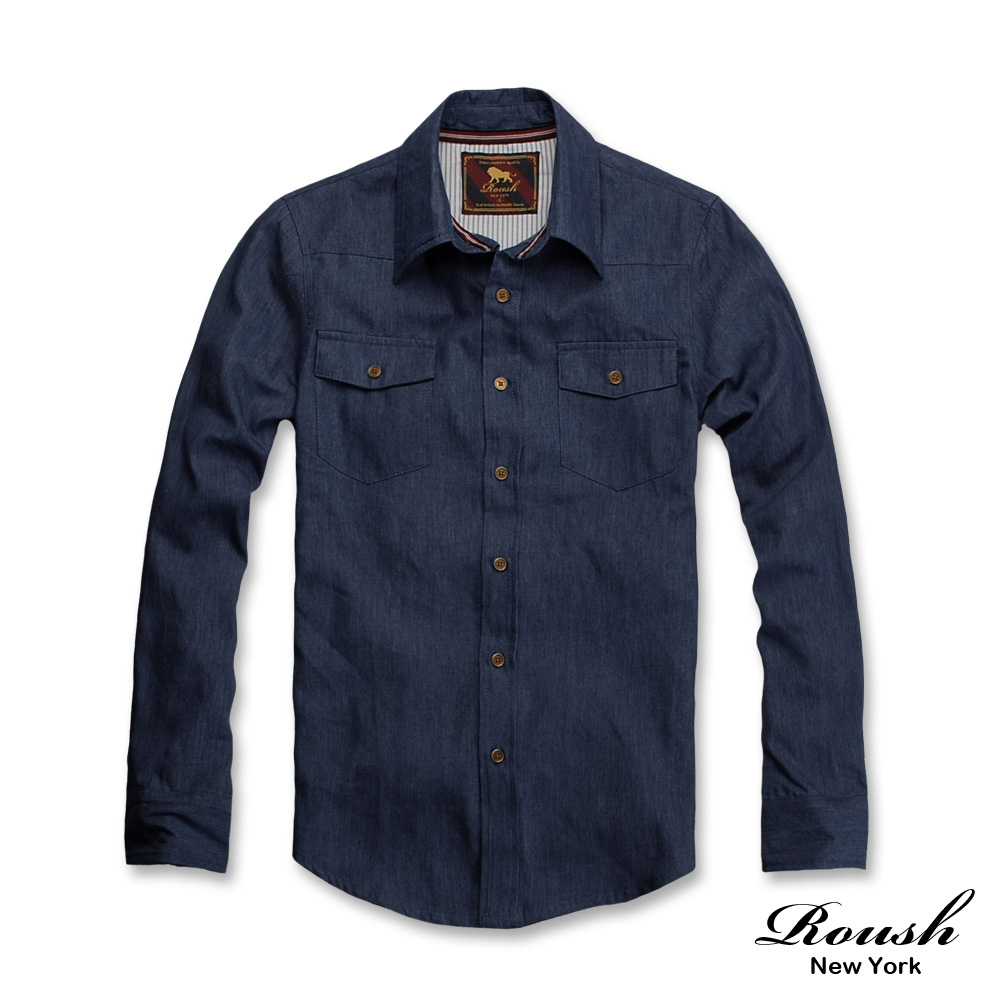 Roush 銅釦設計雙口袋基本款牛仔襯衫 (2色)