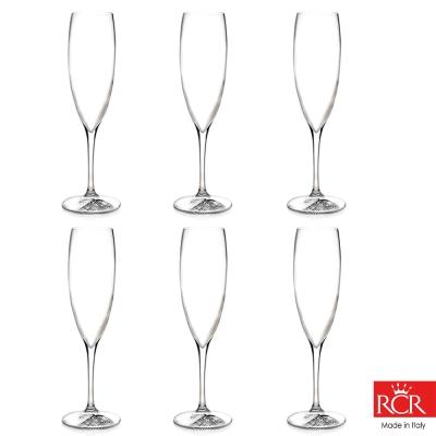 義大利RCR胡哥風情無鉛水晶香檳杯(6入)240cc
