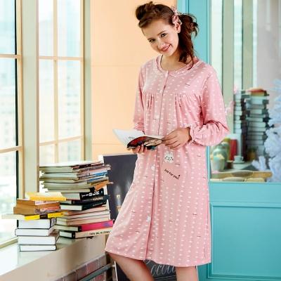 睡衣 精梳棉柔針織 長袖連身睡衣(65212)粉色 蕾妮塔塔