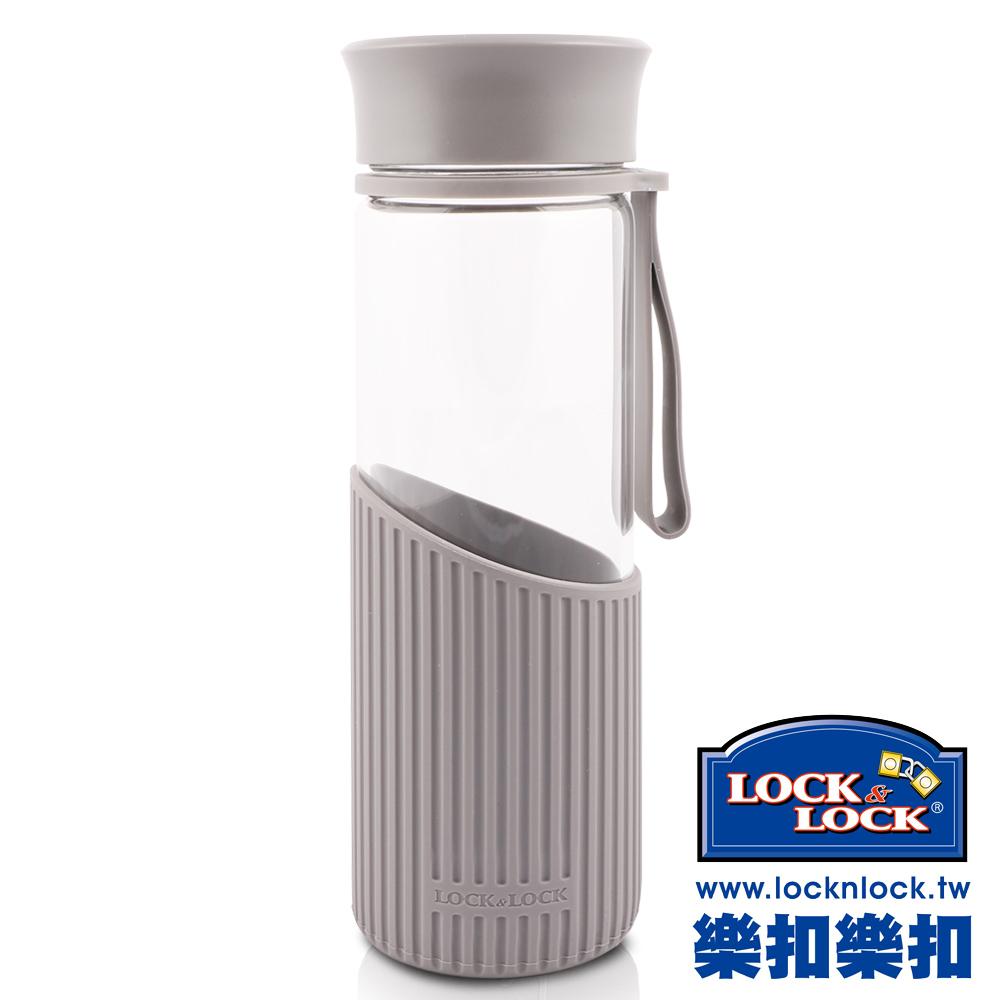 樂扣樂扣 AQUA系列矽晶提帶耐熱玻璃水杯500ML(直條灰)(8H)