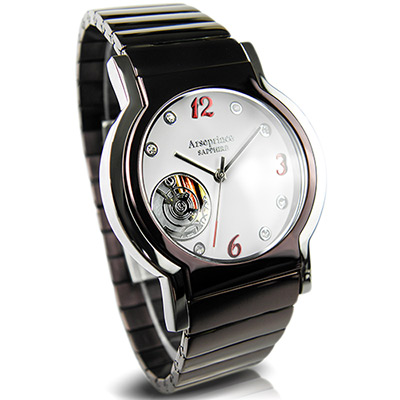 Arseprince 城市旅人小鏤空石英腕錶~銀x咖啡色錶帶 37mm