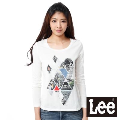 Lee 長袖T恤 城市圖案抽象圖案-女款(米白)