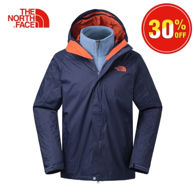 The North Face北面男款藍色保暖絨面三合一外套