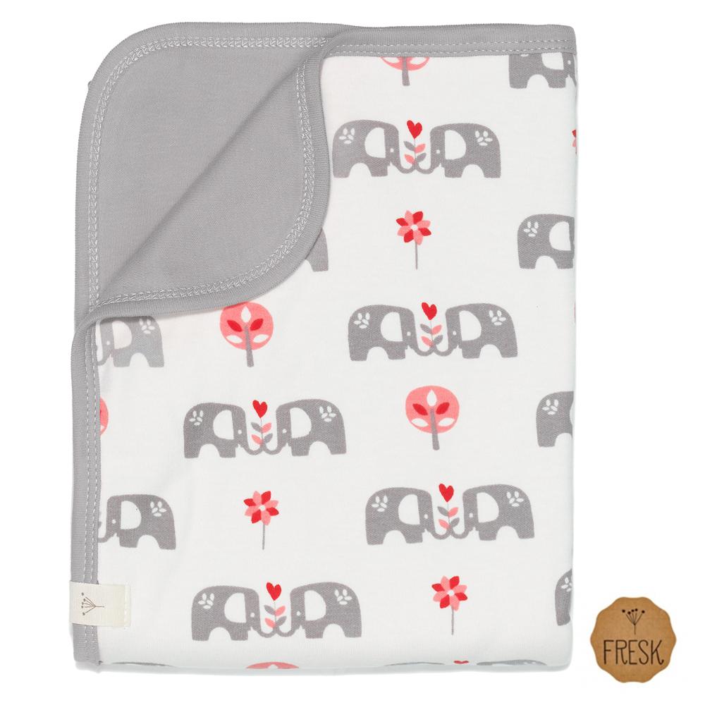 荷蘭 FRESK 有機棉嬰兒毯(粉紅大象)