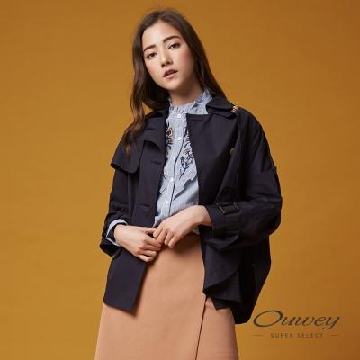 OUWEY歐薇 率性連袖寬版風衣短外套(藍)