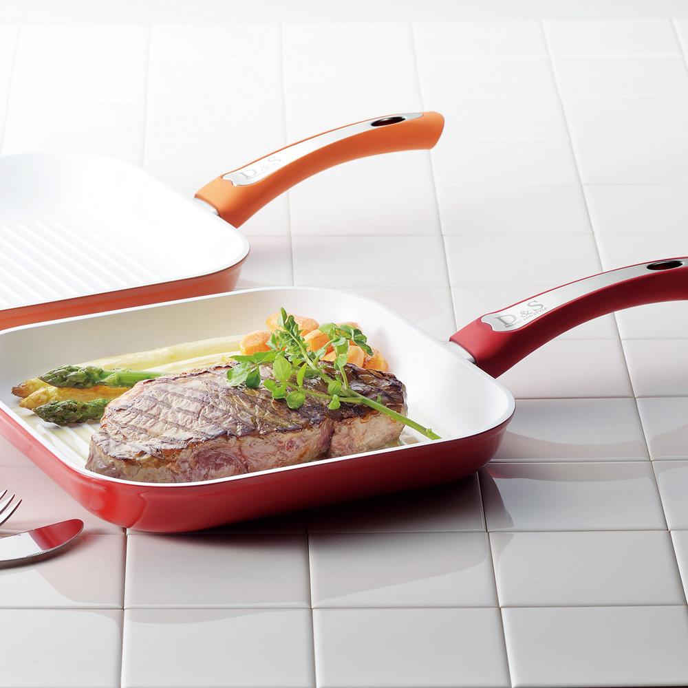 D&S 陶瓷不沾方型烤魚鍋26CM(紅色)