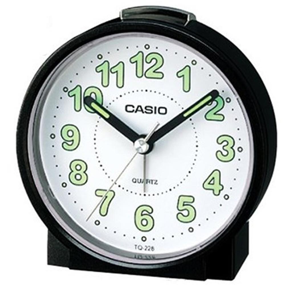 CASIO 鬧鐘桌上圓型指針款鬧鐘(TQ-228-1D)黑x白面
