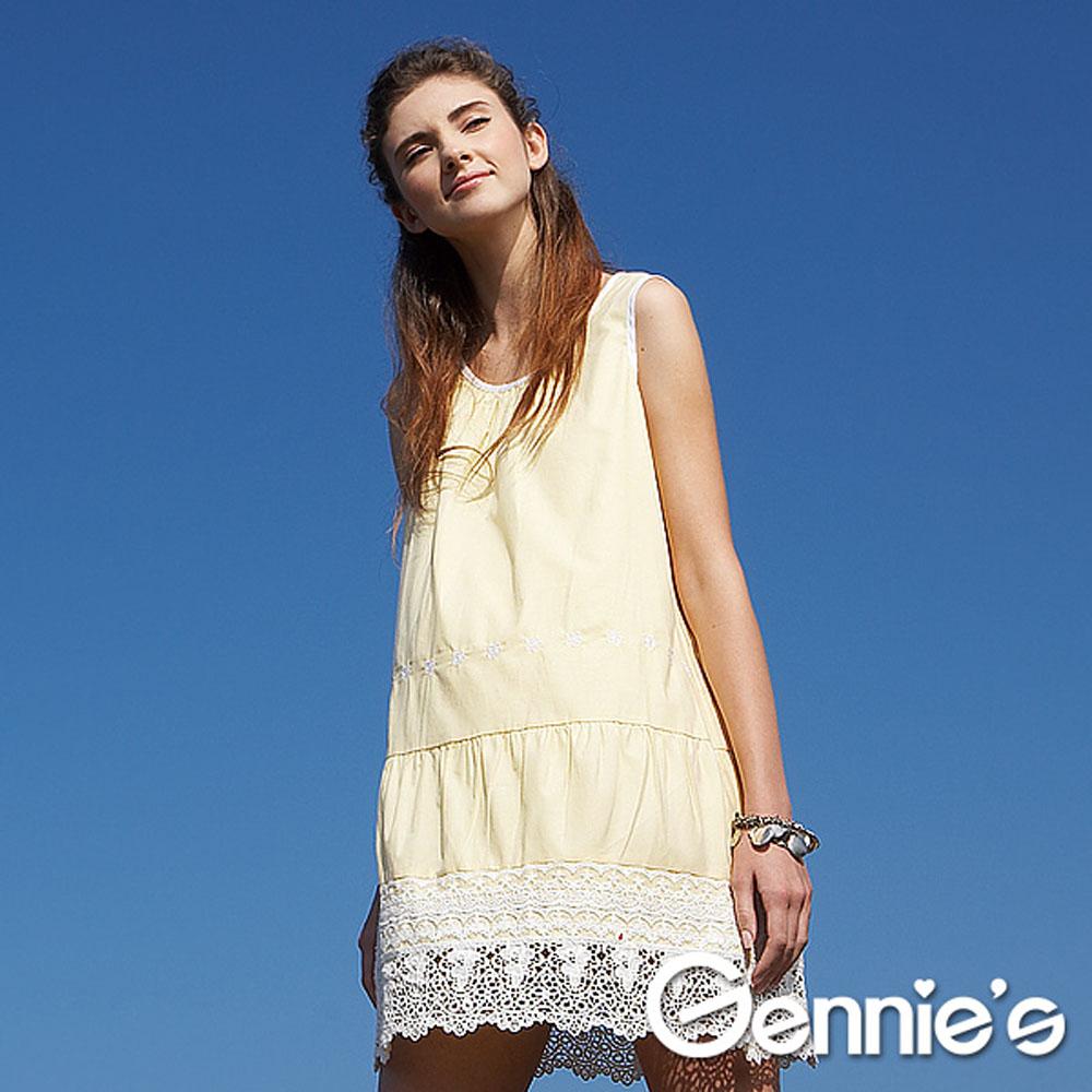 【Gennie's奇妮】純棉好感布蕾絲孕婦背心洋裝-黃(G3X36)