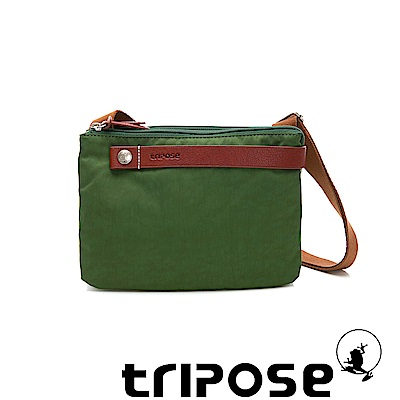 tripose 漫遊系列岩紋輕巧可拆式雙層斜揹小包 青草綠
