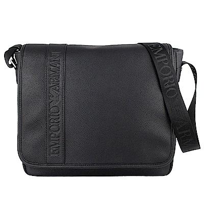 ARMANI 黑色經典字樣仿皮材質大型斜背包