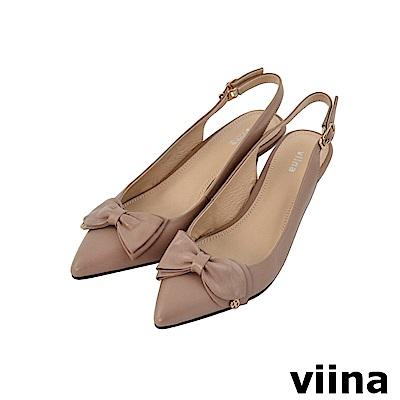 viina-女神系列-羊皮蝴蝶鞋繫帶尖頭高跟鞋-氣質裸膚