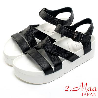2.Maa 真皮系列-特色荔枝紋牛皮x個性扣環時尚休閒涼鞋-霧黑