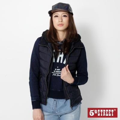 5th-STREET-雙門襟蕾絲帽羽絨背心-女-丈青