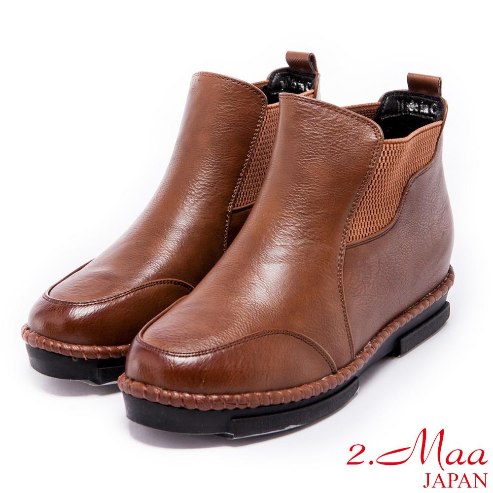 2.Ma-戀念率性復古內增高短靴-棕