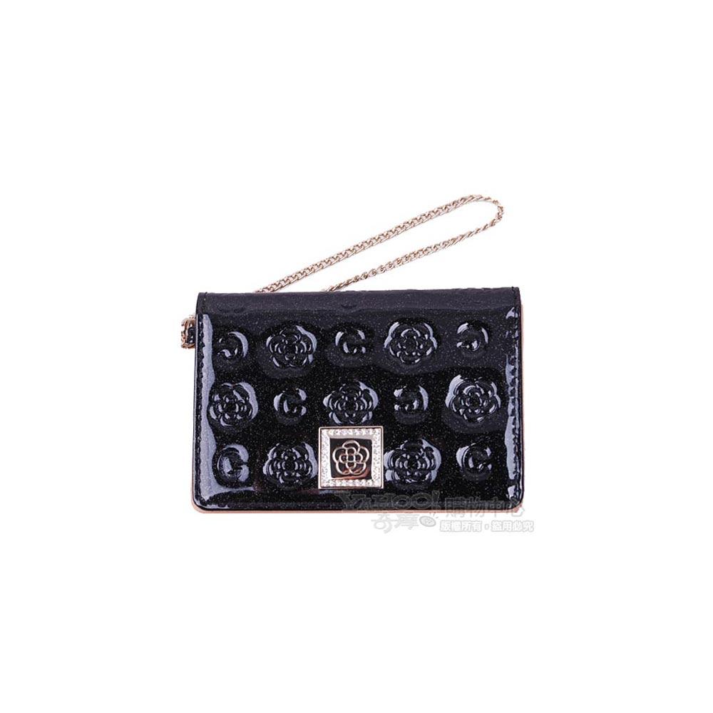 CLATHAS山茶花亮面浮水印LOGO拉鍊機能卡片證照夾(黑)