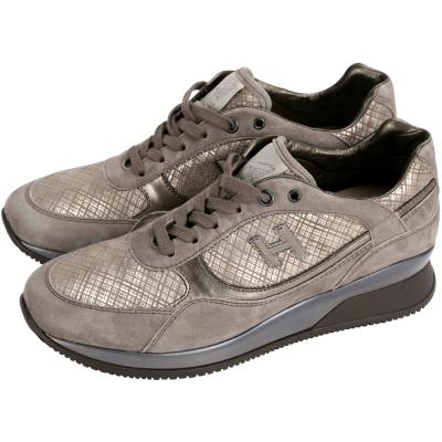 HOGAN 麂皮拼接綁帶休閒鞋(女款/咖啡金)