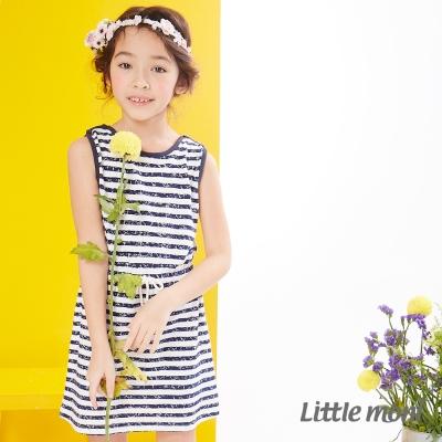 Little moni 夏日斑駁感條紋無袖洋裝 深藍
