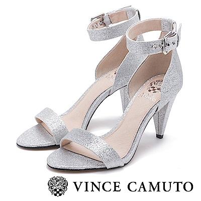 Vince Camuto 高貴麂皮一字高跟涼鞋-銀色