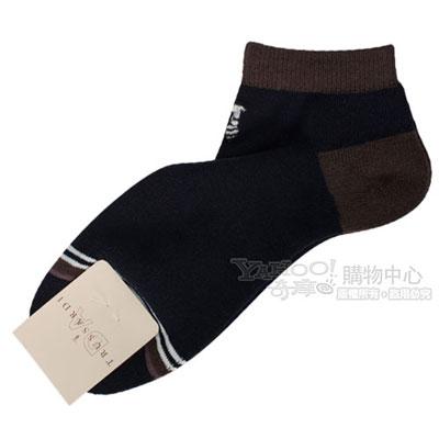 TRUSSARDI 休閒雙色毛巾底短襪【深藍/咖啡色】