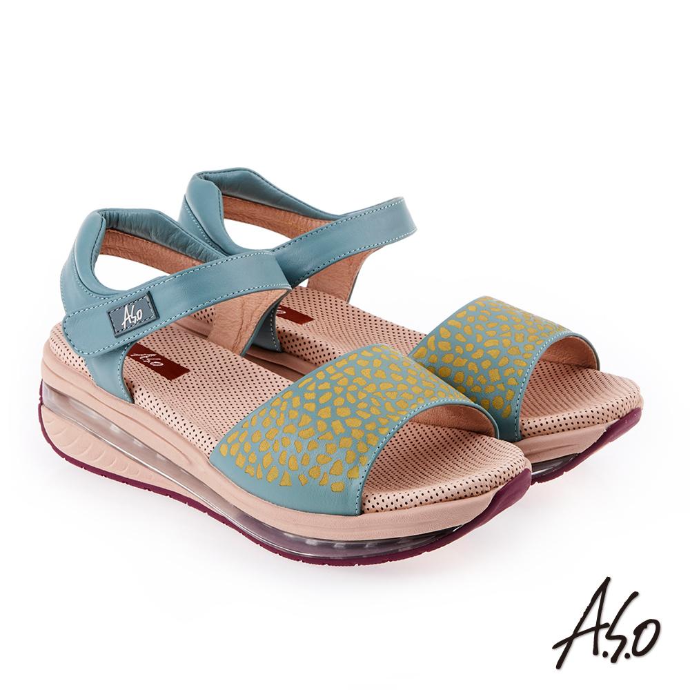 A.S.O 超能力 俏麗豹紋全真皮輕量奈米鞋墊休閒涼鞋 正綠