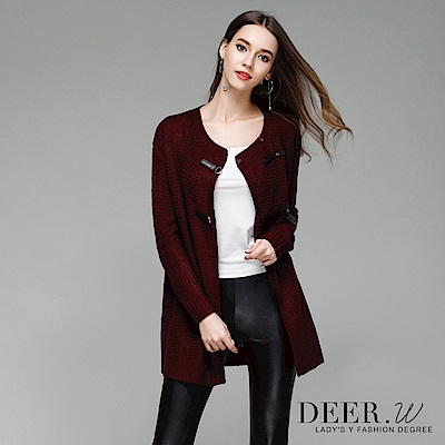 DEER.W 圓領皮釦針織外套(共兩色)
