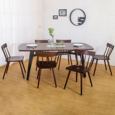 Boden-萊森工業風實木餐桌椅組(一桌六椅)-180x90x75cm