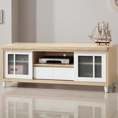 品家居-森泉5尺雙色推門長櫃電視櫃