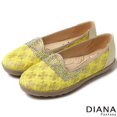 DIANA 超厚切冰淇淋款--法式蕾絲水鑽平底鞋-黃