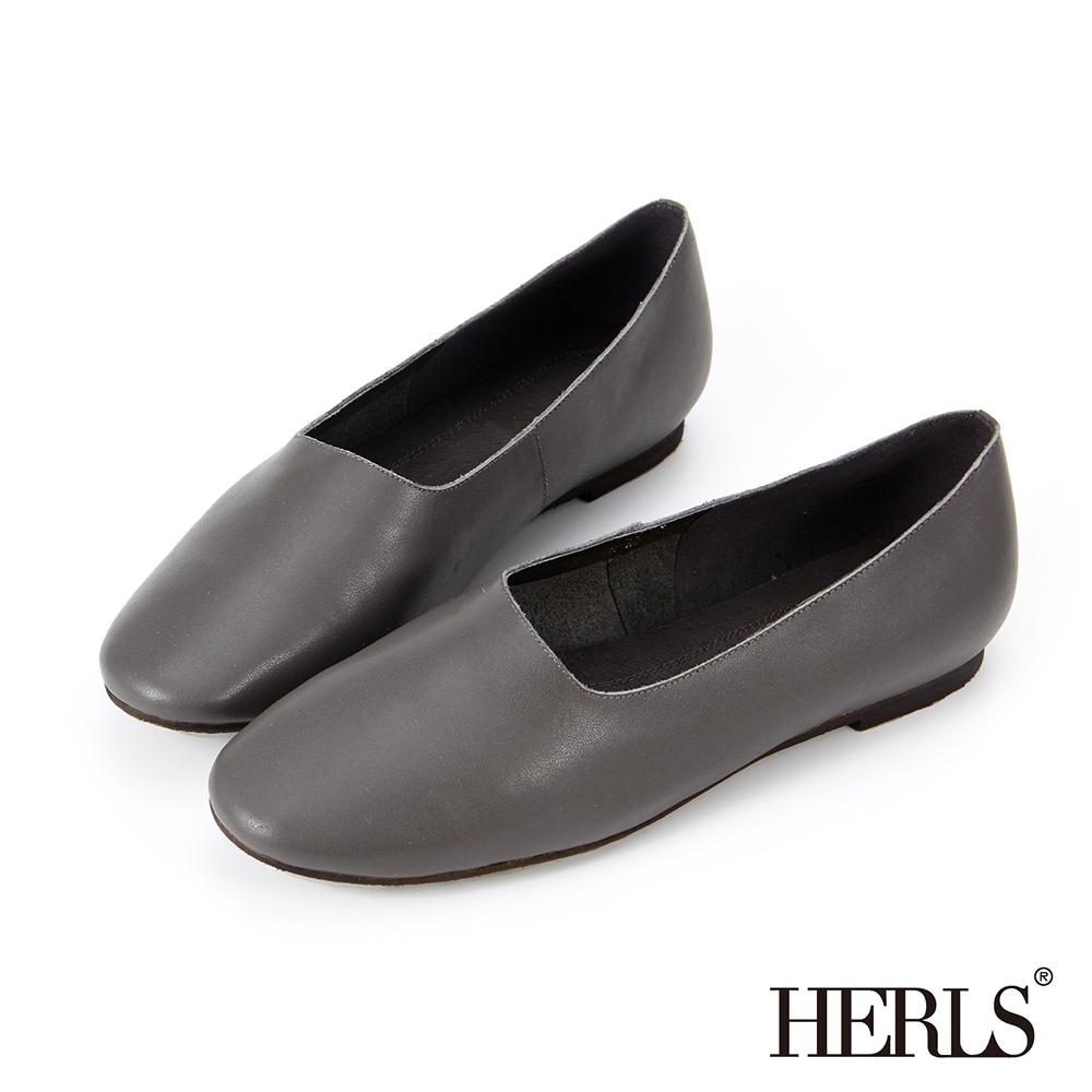 HERLS 全真皮 文青氣息全素面平底休閒鞋-灰色