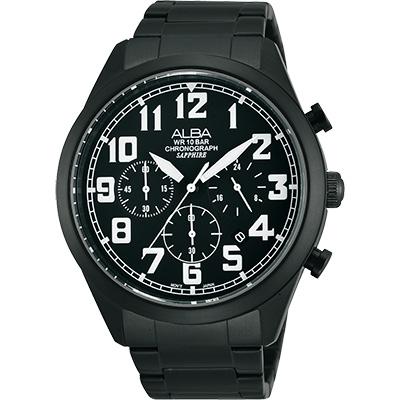 ALBA 街頭玩酷時尚三眼計時腕錶(AT 3591 X 1 )-IP黑/ 44 mm