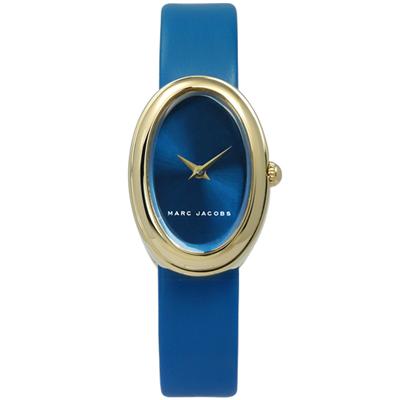 Marc Jacobs 簡約清新質樸北歐風真皮手錶-藍x金框/20mm