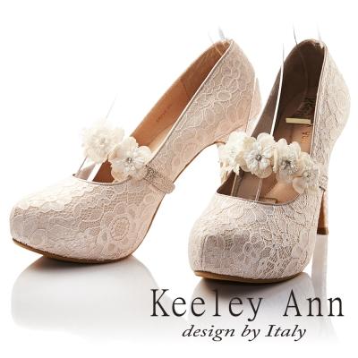 Keeley Ann 幸福花朵朵開小鑽可拆式腳背帶新娘高跟鞋(粉紅色)