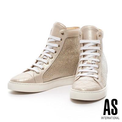 AS 奢華休閒系列 拼接造型晶鑽厚底綁帶高筒休閒鞋-金