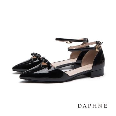 達芙妮DAPHNE-平底鞋-蝴蝶結踝帶尖頭平底鞋