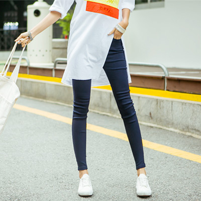 正韓 超彈力貼腿顯瘦窄管長褲 (深藍色)-N.C21