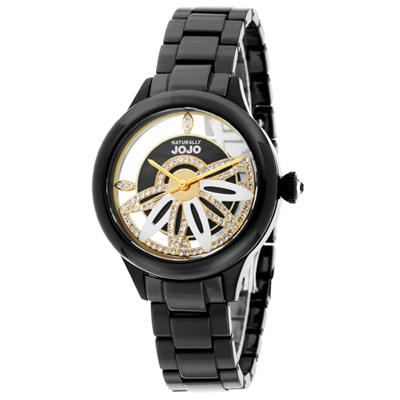 NATURALLY JOJO 舞動花漾晶鑽陶瓷時尚腕錶-黑帶/黑面/38mm