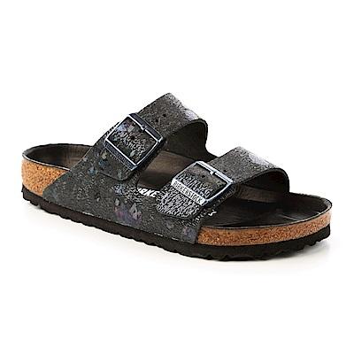 勃肯BIRKENSTOCK 1006741。亞利桑那經典二條拖鞋(閃銀黑)