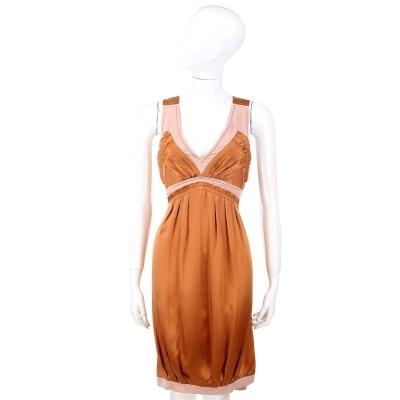 PHILOSOPHY 粉x咖色雙材質拼接無袖洋裝