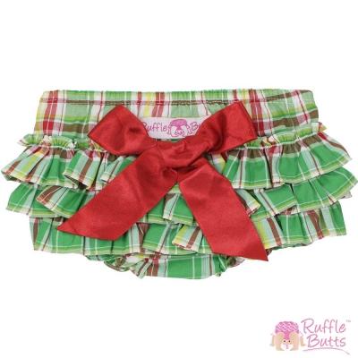 RuffleButts 小女童大蝴蝶結荷葉邊包屁褲-綠色格紋款