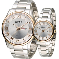 STAR 時代 永恆諾言時尚對錶-銀x玫瑰金/43+32mm