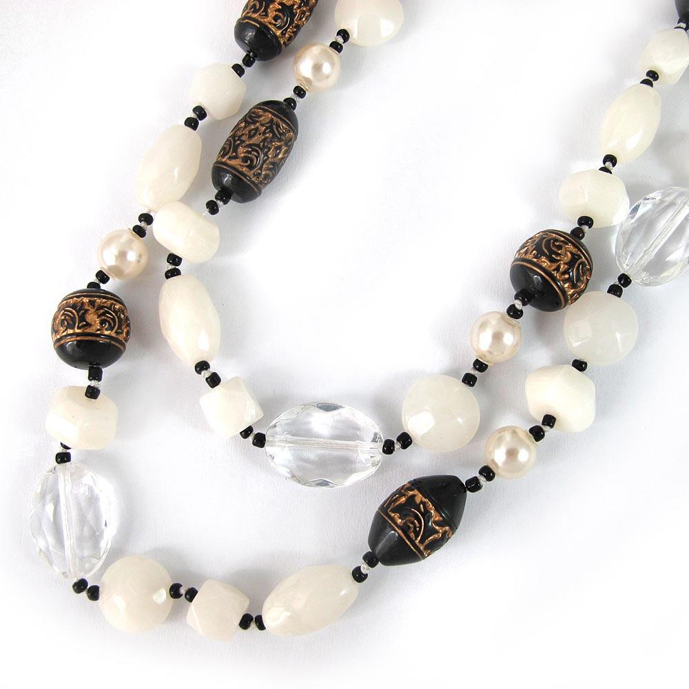 KOURIN古典系列-古典黑白圖騰48吋長珠鍊