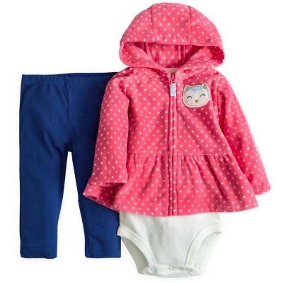 Carters 美國 粉紅點點連帽外套深藍長褲包屁衣套裝3件組