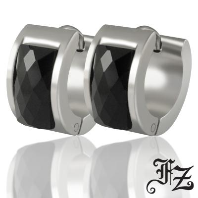 FZ  時尚簡約T鑽鋼耳環(黑鑽)