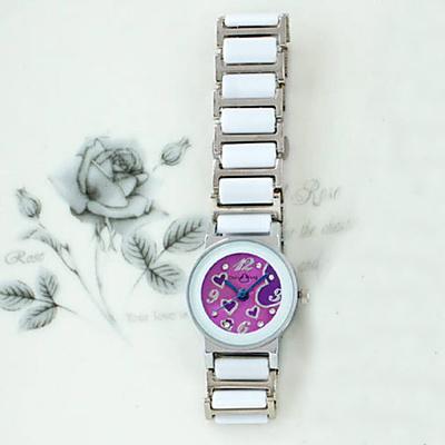 Daniel Wang 甜美愛心-切割鏡面仿陶瓷女錶-神秘紫