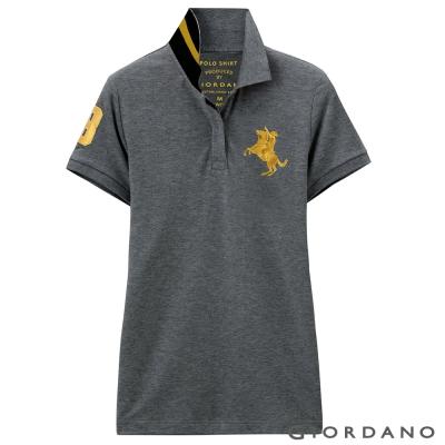 GIORDANO-女裝拿破崙3D刺繡彈性POLO衫-17-標誌深花灰