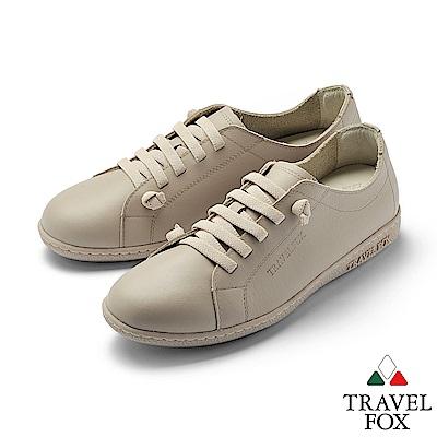 TRAVEL FOX(女) 踏實玩家 超軟牛皮極舒適免綁帶休閒鞋 - 無憂淺棕
