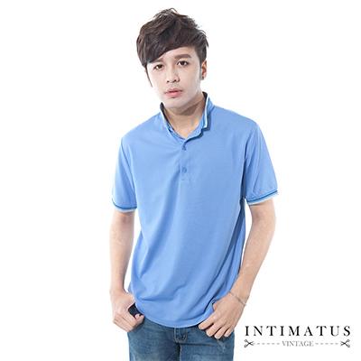 INTIMATUS 素色涼感 立領短袖 POLO衫 藍色