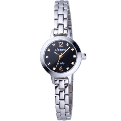 LICORNE 恩萃Entree 小錶徑時尚設計師女腕錶-銀/黑-24mm