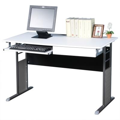 Homelike 巧思辦公桌 炫灰系列-白色仿馬鞍皮120cm(附抽屜 鍵盤架)